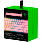 Razer PBT Keycap + Coiled Cable Upgrade Set - Quartz, Durable Doubleshot PBT, Keycap Count: 120, Standard bottom row US and UK layout supported, Braided Fiber Cable, USB-C to USB-A, Total Cable Length: 2,000 mm uncoiled (1,150 mm coiled)