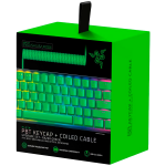 Razer PBT Keycap + Coiled Cable Upgrade Set - Razer Green, Durable Doubleshot PBT, Keycap Count: 120, Standard bottom row US and UK layout supported, Braided Fiber Cable, USB-C to USB-A, Total Cable Length: 2,000 mm uncoiled (1,150 mm coiled)